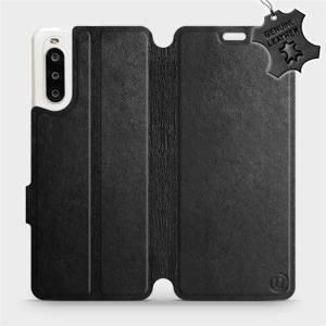 Luxusní flip pouzdro Mobiwear na mobil Sony Xperia 10 II - Černé - kožené - L_BLS Black Leather - výprodej
