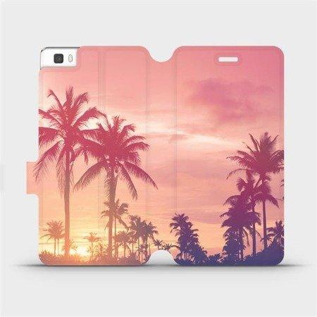 Flipové pouzdro Mobiwear na mobil Huawei P8 Lite - M134P Palmy a růžová obloha