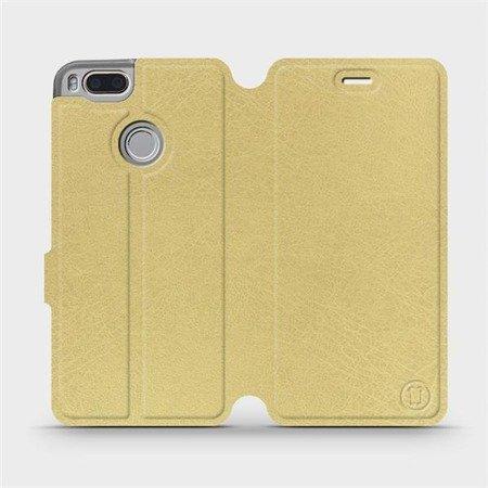 Parádní flip pouzdro Mobiwear na mobil Xiaomi Mi A1 v provedení C_GOS Gold&Gray s šedým vnitřkem