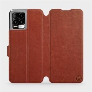 Flip pouzdro Mobiwear na mobil Realme 8 v provedení C_BRS Brown&Gray s šedým vnitřkem