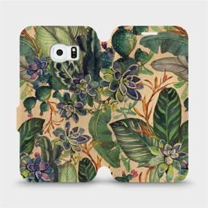 Flip pouzdro Mobiwear na mobil Samsung Galaxy S6 Edge - VP05S Sukulenty