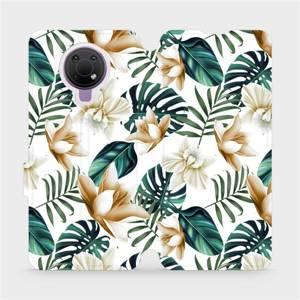 Flip pouzdro Mobiwear na mobil Nokia G10 - MC07P Zlatavé květy a zelené listy