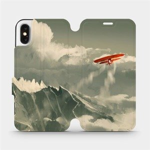 Flipové pouzdro Mobiwear na mobil Apple iPhone X - MA03P Oranžové letadlo v horách