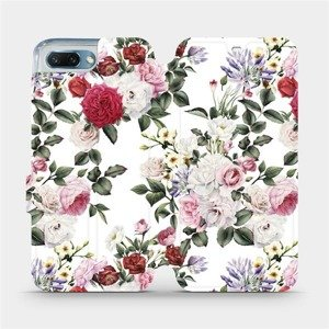 Flipové pouzdro Mobiwear na mobil Honor 10 - MD01S Růže na bílé
