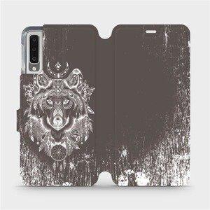 Flipové pouzdro Mobiwear na mobil Samsung Galaxy A7 2018 - V064P Vlk a lapač snů