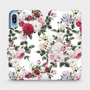 Flipové pouzdro Mobiwear na mobil Huawei Y6 2019 - MD01S Růže na bílé