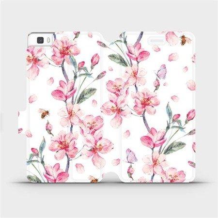 Flipové pouzdro Mobiwear na mobil Huawei P8 Lite - M124S Růžové květy