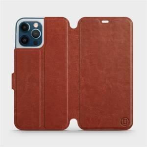 Flipové pouzdro Mobiwear na mobil Apple iPhone 12 Pro Max v provedení C_BRS Brown&Gray s šedým vnitřkem