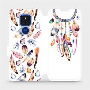 Flipové pouzdro Mobiwear na mobil Motorola Moto E7 Plus - M003S Lapač a barevná pírka