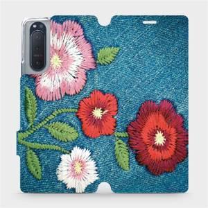 Flipové pouzdro Mobiwear na mobil Sony Xperia 5 II - MD05P Džínové květy