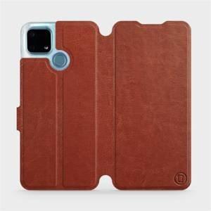Flip pouzdro Mobiwear na mobil Realme 7i v provedení C_BRP Brown&Orange s oranžovým vnitřkem