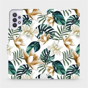 Flipové pouzdro Mobiwear na mobil Samsung Galaxy A32 5G - MC07P Zlatavé květy a zelené listy