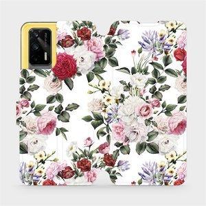 Flipové pouzdro Mobiwear na mobil Realme GT 5G - MD01S Růže na bílé