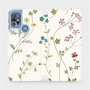Flipové pouzdro Mobiwear na mobil Motorola Moto G20 - MD03S Tenké rostlinky s květy