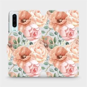 Flip pouzdro Mobiwear na mobil Huawei P30 - MP02S Pastelové květy