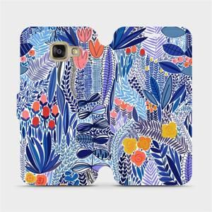 Flip pouzdro Mobiwear na mobil Samsung Galaxy A3 2016 - MP03P Modrá květena