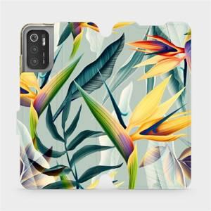 Flip pouzdro Mobiwear na mobil Xiaomi Poco M3 Pro 5G - MC02S Žluté velké květy a zelené listy