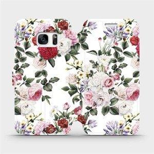 Flipové pouzdro Mobiwear na mobil Samsung Galaxy S7 - MD01S Růže na bílé