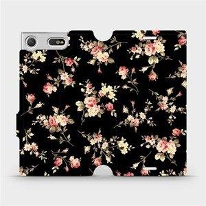 Flipové pouzdro Mobiwear na mobil Sony Xperia XZ1 Compact - VD02S Květy na černé