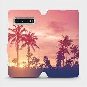 Flipové pouzdro Mobiwear na mobil Samsung Galaxy S10 - M134P Palmy a růžová obloha