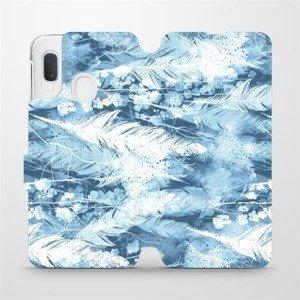 Flipové pouzdro Mobiwear na mobil Samsung Galaxy A20e - M058S Světle modrá horizontální pírka
