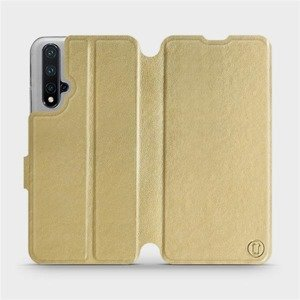 Flipové pouzdro Mobiwear na mobil Honor 20 v provedení C_GOS Gold&Gray s šedým vnitřkem