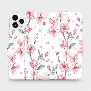 Flipové pouzdro Mobiwear na mobil Apple iPhone 11 Pro - M124S Růžové květy