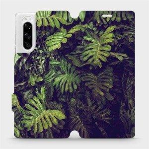 Flipové pouzdro Mobiwear na mobil Sony Xperia 5 - V136P Zelená stěna z listů