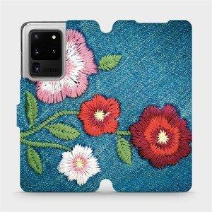 Flipové pouzdro Mobiwear na mobil Samsung Galaxy S20 Ultra - MD05P Džínové květy