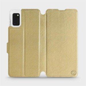 Flipové pouzdro Mobiwear na mobil Samsung Galaxy A41 v provedení C_GOP Gold&Orange s oranžovým vnitřkem
