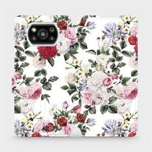 Flipové pouzdro Mobiwear na mobil Xiaomi Poco X3 Pro - MD01S Růže na bílé