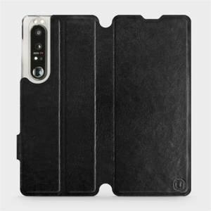Flip pouzdro Mobiwear na mobil Sony Xperia 1 III v provedení C_BLS Black&Gray s šedým vnitřkem