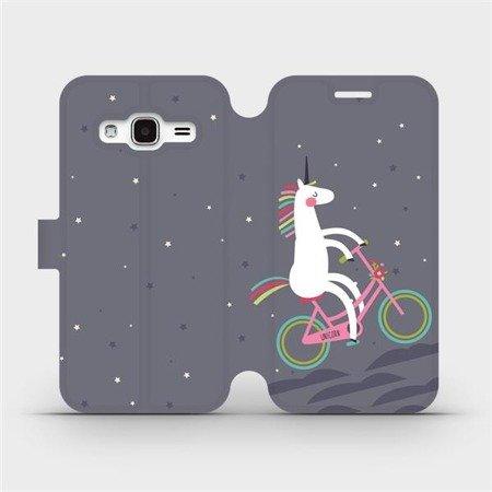 Flipové pouzdro Mobiwear na mobil Samsung Galaxy J3 2016 - V024P Jednorožec na kole