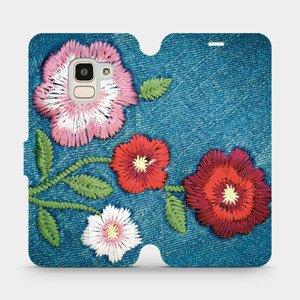 Flipové pouzdro Mobiwear na mobil Samsung Galaxy J6 2018 - MD05P Džínové květy