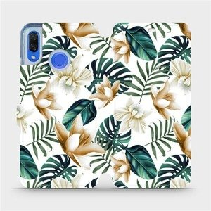 Flipové pouzdro Mobiwear na mobil Huawei Nova 3 - MC07P Zlatavé květy a zelené listy