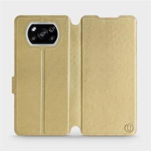 Flipové pouzdro Mobiwear na mobil Xiaomi POCO X3 NFC v provedení C_GOS Gold&Gray s šedým vnitřkem