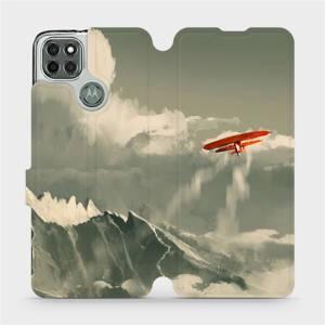 Flipové pouzdro Mobiwear na mobil Motorola Moto G9 Power - MA03P Oranžové letadlo v horách