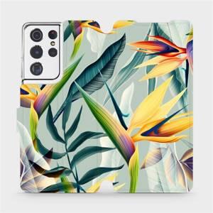 Flipové pouzdro Mobiwear na mobil Samsung Galaxy S21 Ultra 5G - MC02S Žluté velké květy a zelené listy