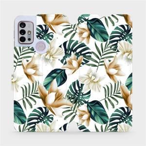 Flipové pouzdro Mobiwear na mobil Motorola Moto G10 - MC07P Zlatavé květy a zelené listy