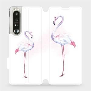 Flip pouzdro Mobiwear na mobil Sony Xperia 1 III - M005S Plameňáci