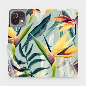 Flip pouzdro Mobiwear na mobil Xiaomi 11 Lite 5G NE - MC02S Žluté velké květy a zelené listy