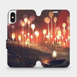 Flipové pouzdro Mobiwear na mobil Apple iPhone X - VA01S Lampiony a muž v lodičce