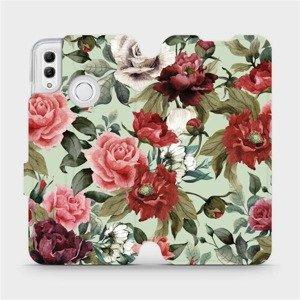 Flipové pouzdro Mobiwear na mobil Honor 10 Lite - MD06P Růže a květy na světle zeleném pozadí