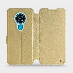 Flipové pouzdro Mobiwear na mobil Nokia 7.2 v provedení C_GOS Gold&Gray s šedým vnitřkem