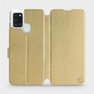 Flipové pouzdro Mobiwear na mobil Samsung Galaxy A21S v provedení C_GOP Gold&Orange s oranžovým vnitřkem