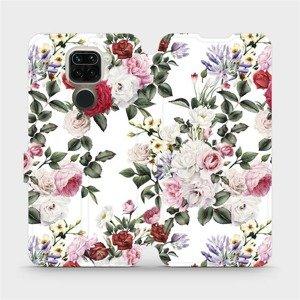 Flipové pouzdro Mobiwear na mobil Xiaomi Redmi Note 9 - MD01S Růže na bílé