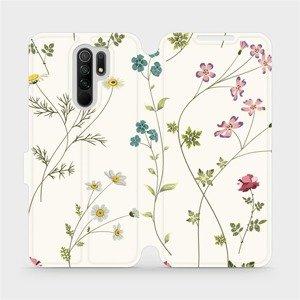 Flipové pouzdro Mobiwear na mobil Xiaomi Redmi 9 - MD03S Tenké rostlinky s květy