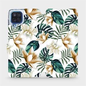 Flipové pouzdro Mobiwear na mobil Samsung Galaxy M12 - MC07P Zlatavé květy a zelené listy