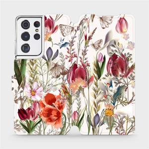 Flip pouzdro Mobiwear na mobil Samsung Galaxy S21 Ultra - MP01S Rozkvetlá louka