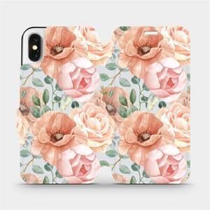 Flip pouzdro Mobiwear na mobil Apple iPhone X - MP02S Pastelové květy